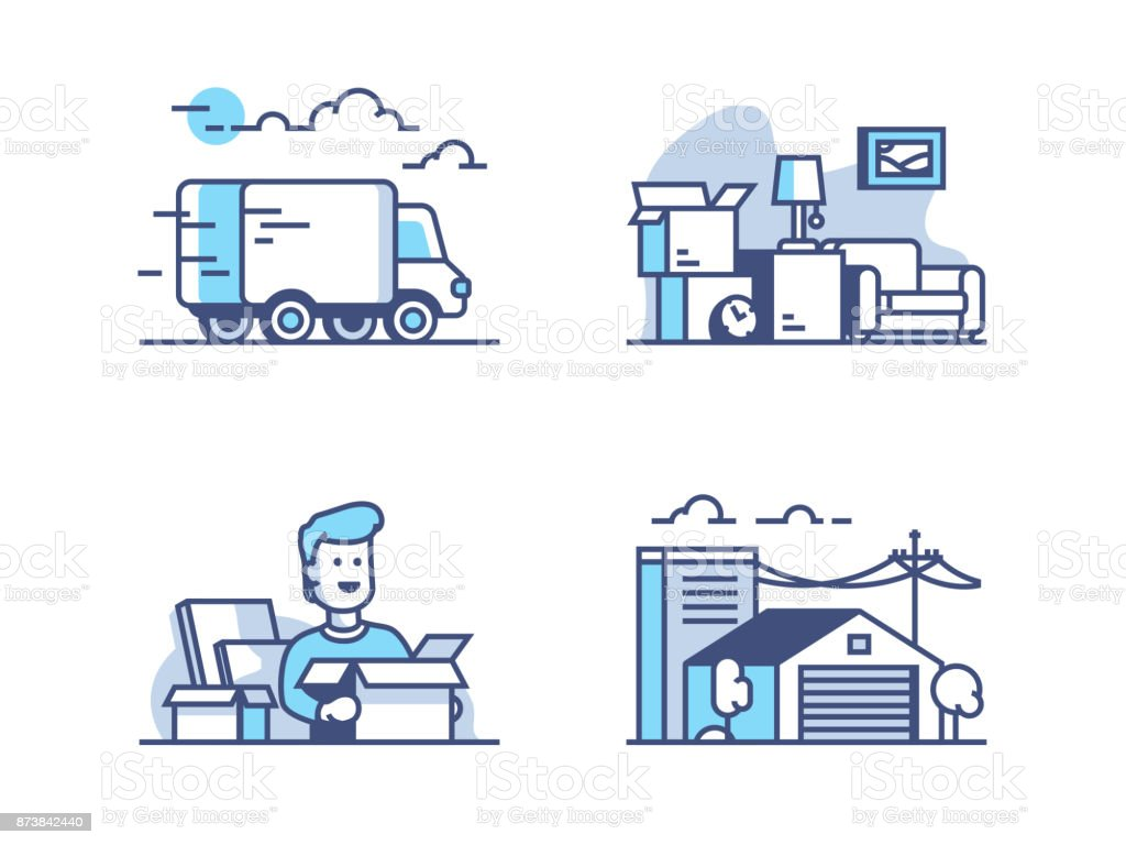Moving and storage in warehouse vector art illustration