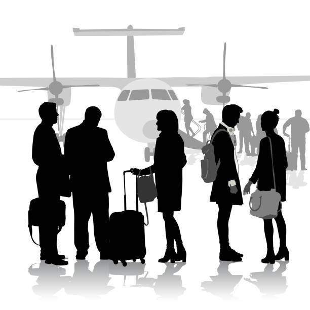 Moving Away Fight People standing in front of an airplane being boarded airport silhouettes stock illustrations