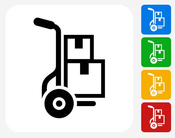 przenoszenie pola ikony płaskie projektowania graficznego - wózek transportowy stock illustrations