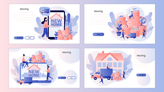 Moving concept. Tiny people moved to new home. Cardboard boxes with various things. Screen template for mobile smart phone, landing page, template, ui, web, mobile app, poster, banner, flyer. Vector