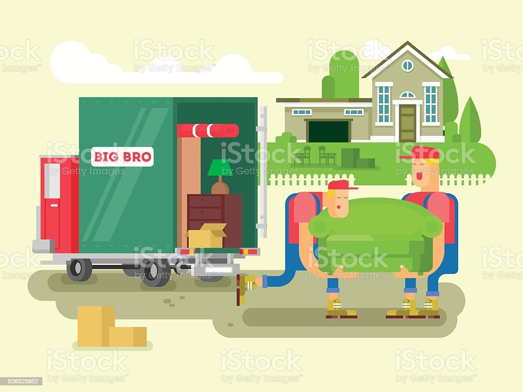 Moving design flat vector art illustration