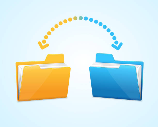 Moving documents between two folders Moving documents between two folders concept . transfer image stock illustrations
