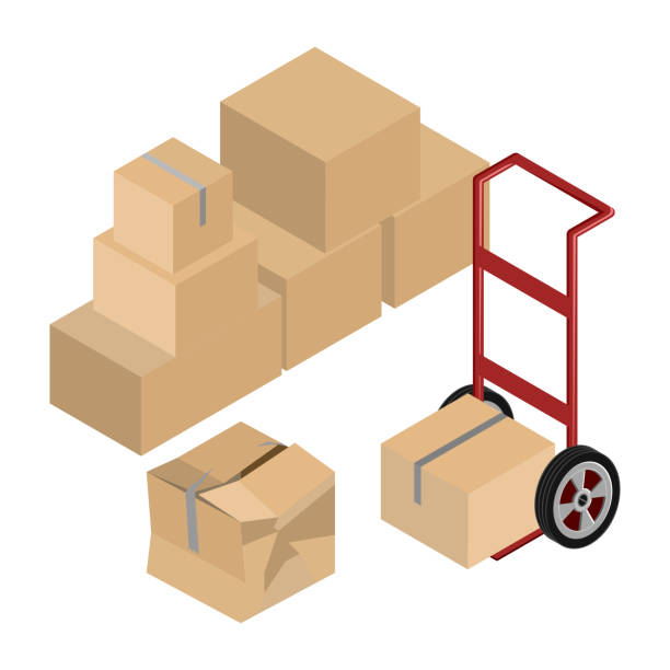 moving dolly and boxes vector - wózek transportowy stock illustrations