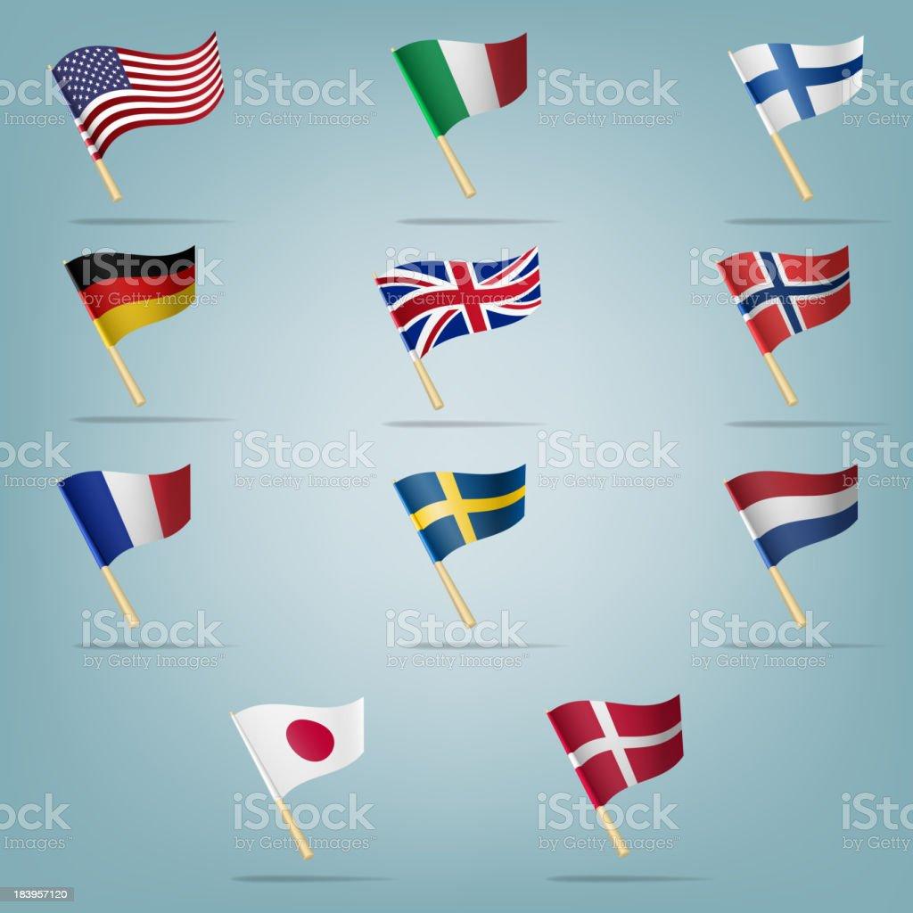 Moving flags set.  Vektor-illustration – Vektorgrafik