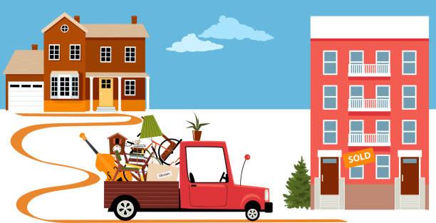 umzug von einem haus in eine eigentumswohnung - hypotheken kündigung stock-grafiken, -clipart, -cartoons und -symbole