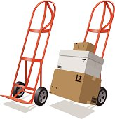 istock Moving Hand Truck and Shipping Boxes 455454969