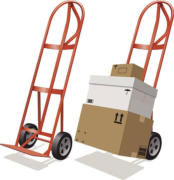 przeniesienie wózek transportowy i pudełka wysyłkowe - wózek transportowy stock illustrations