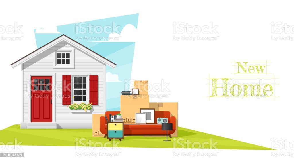 Déplacement fond de maison concept avec petite maison et meubles, vecteur, illustration - Illustration vectorielle