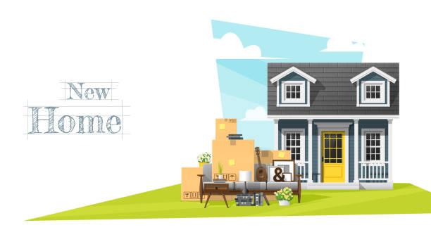 ilustrações, clipart, desenhos animados e ícones de fundo para casa conceito em movimento, com pequena casa e mobília, vetorial, ilustração - casa nova