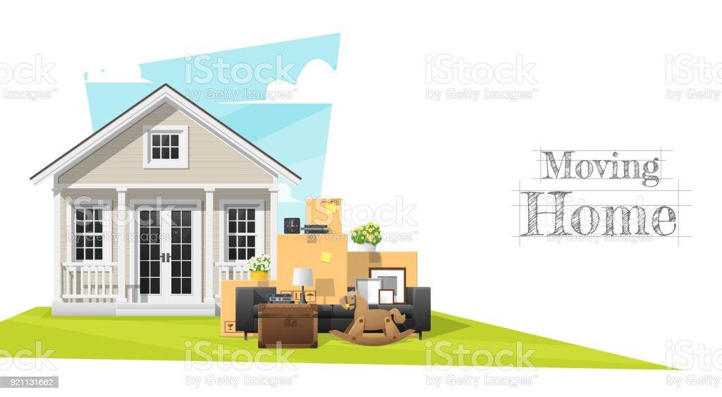 Bewegliche Wohnkonzept Hintergrund Mit Kleinen Haus Und Möbel, Vektor,  Abbildung Lizenzfreies Bewegliche Wohnkonzept Hintergrund