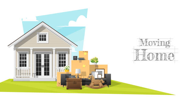 moving home concept background with small house and furniture , vector , illustration - new home stock illustrations