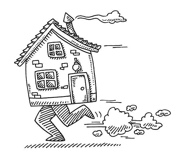 Moving Home Concept House Feet Running Drawing Hand-drawn vector drawing of a Moving Home Concept, a Running House with Feet. Black-and-White sketch on a transparent background (.eps-file). Included files are EPS (v10) and Hi-Res JPG. running stock illustrations