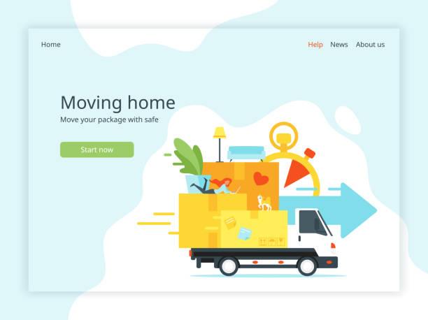 ilustrações, clipart, desenhos animados e ícones de mudar a página inicial em casa - casa nova