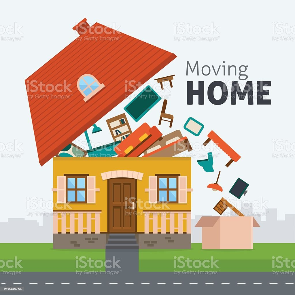 Moving home transportation vector art illustration