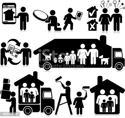 Vectored Families moving house. Based on 1970s AIGA icon designed for the US Department of Transport. This figure is based on the compact sized stick figure rather than the standard version. The format can be blown up to any size without loss of quality.
