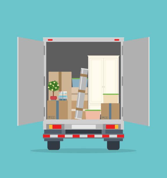 ilustrações, clipart, desenhos animados e ícones de mudar de casa. caminhão de entrega aberto com mobílias e caixas de papelão. - casa nova