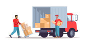 istock Moving house service flat vector illustration 1198224533
