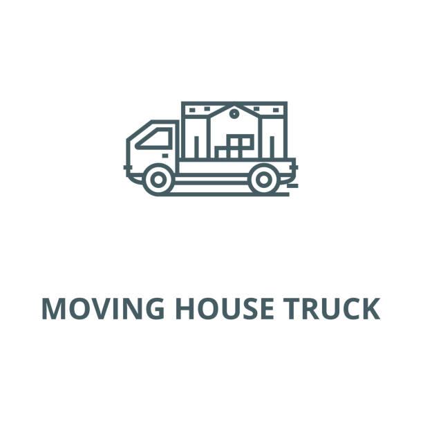 hareketli ev kamyon vektör hattı simgesi, doğrusal kavramı, anahat işareti, sembol - sale stock illustrations