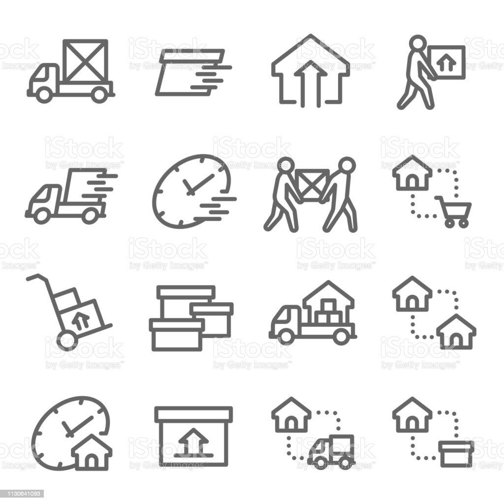 家ベクトル線アイコン セットを移動します。送料、ホーム Mover サービス、エクスプレス、移転などのアイコンが含まれています。拡張ストローク ベクターアートイラスト