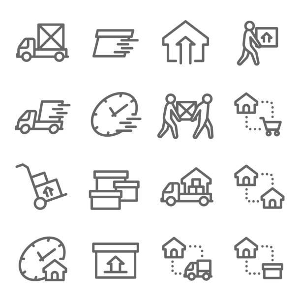 ilustrações, clipart, desenhos animados e ícones de mudando de casa vetor linha icon set. contém ícones como transporte, serviço de motor home, express, realocação e muito mais. acidente vascular cerebral expandida - casa nova