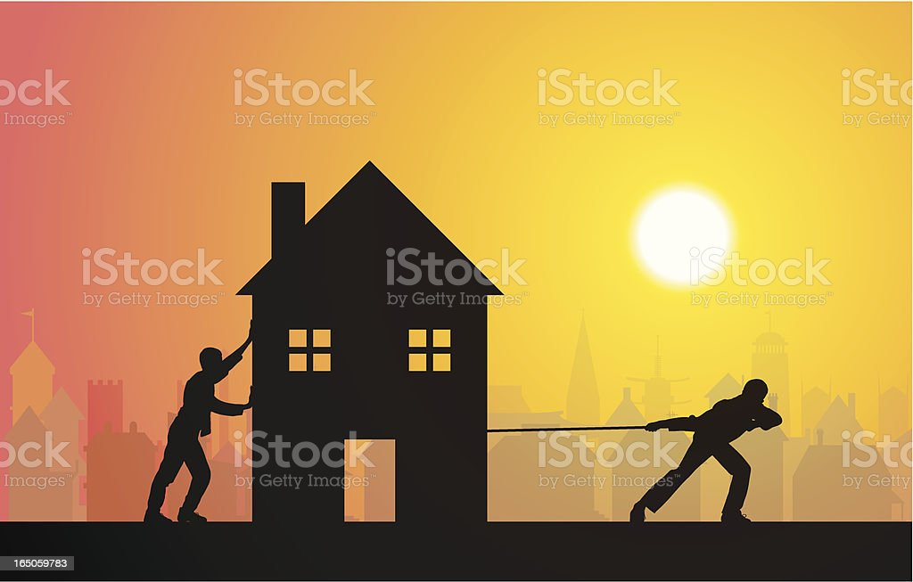 Moving House with Sunset vector art illustration