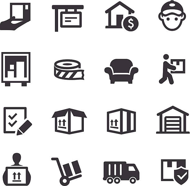moving icons-acme series - umzugskartons stock-grafiken, -clipart, -cartoons und -symbole