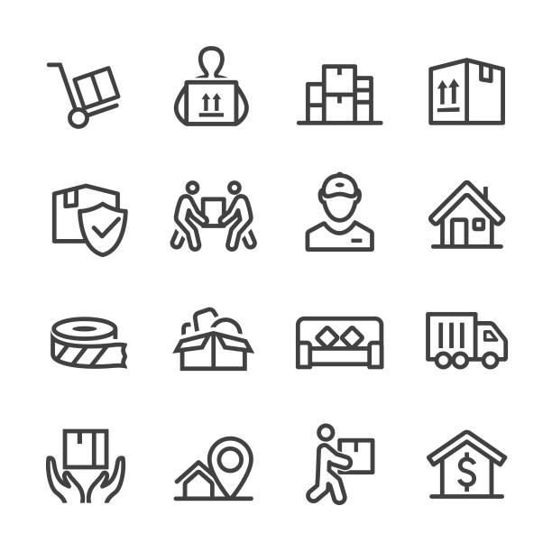 stockillustraties, clipart, cartoons en iconen met bewegende pictogrammen - line serie - oppakken