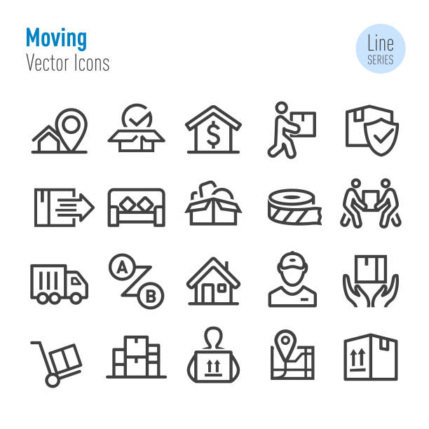 moving icons - vector line series - przeprowadzka stock illustrations