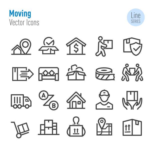 ilustrações, clipart, desenhos animados e ícones de ícones moventes-série da linha do vetor - casa nova