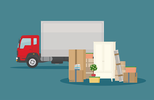 Moving into new House. Delivery truck, furniture and cardboard boxes. Isolated on dark blue background.
