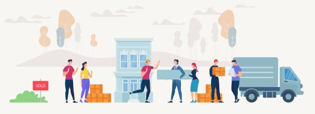 ilustrações, clipart, desenhos animados e ícones de movendo-se para a casa nova. ilustração em vetor. - casa nova