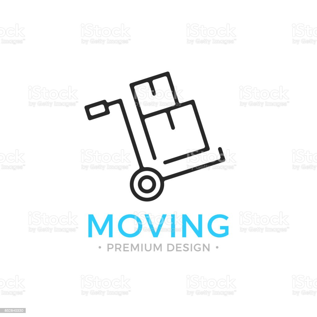 Moving line icon. Hand truck with cardboard boxes. Relocation concept. Simple linear design. Black vector moving icon vector art illustration