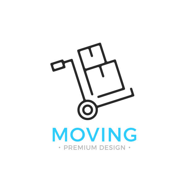 moving line icon. hand truck with cardboard boxes. relocation concept. simple linear design. black vector moving icon - new home stock illustrations