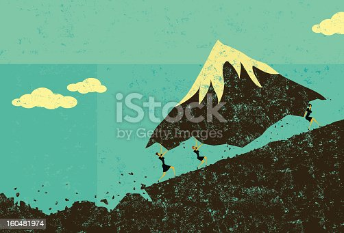 Businesswomen moving a mountain uphill. The women & mountain and background are on separate labeled layers.