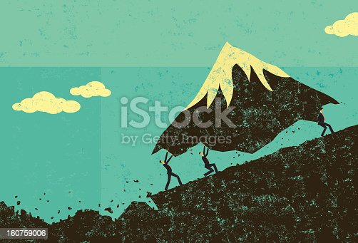Businessmen moving a mountain uphill. The men & mountain and background are on separate labeled layers.