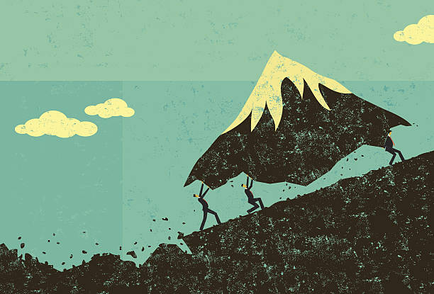 moving mountains - vintage people stock illustrations, clip art, cartoons, & icons