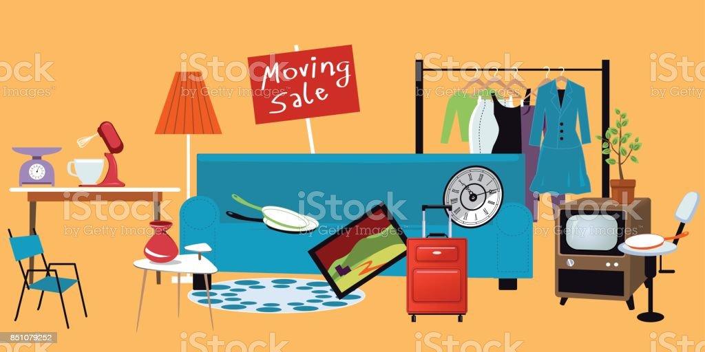 Moving sale vector art illustration