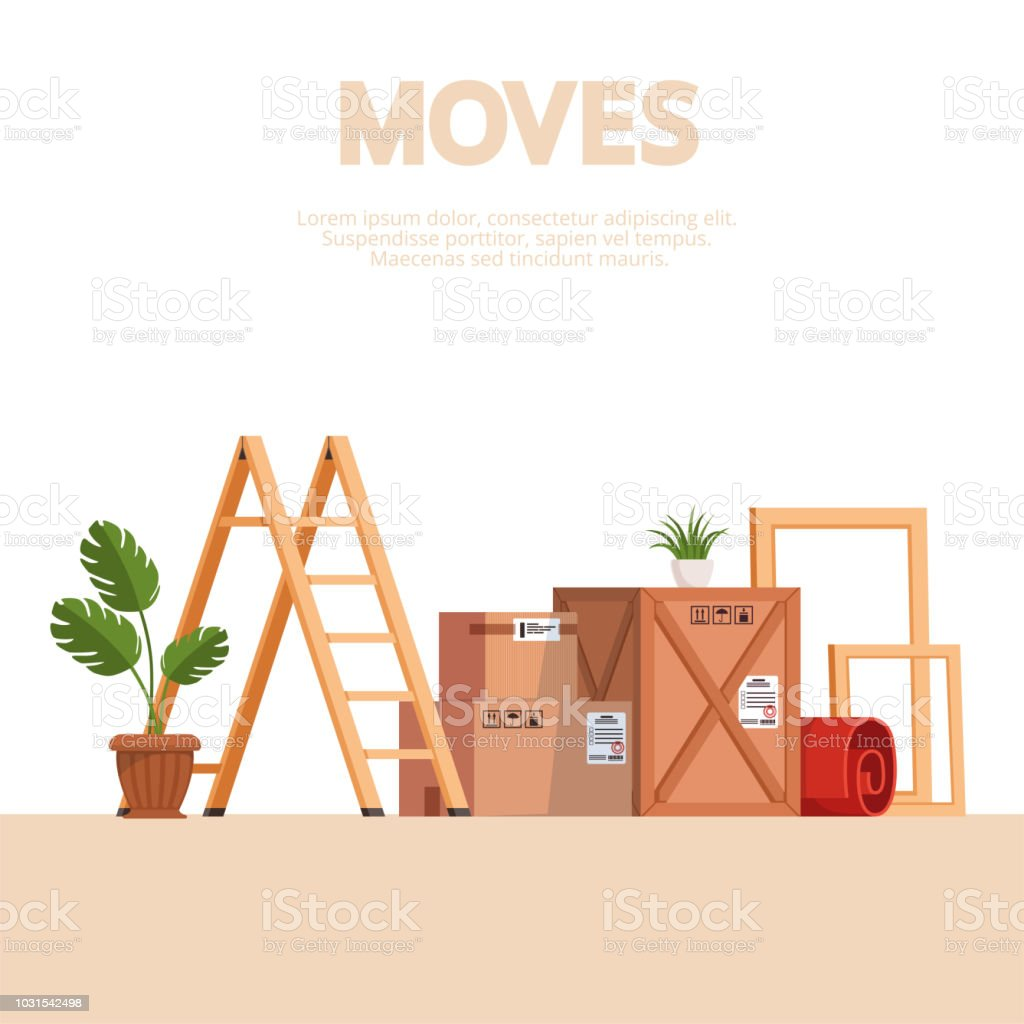 Moving Scene With Boxes Stairs Frames Carpet And Indoor Plants On A ...