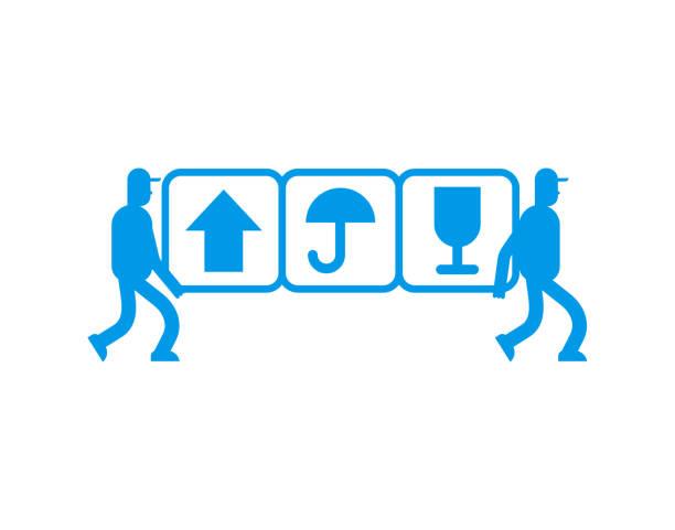 サービス配信サイン ・ ロゴマークを移動します。2 つの引っ越し。ポーターは、シンボルを運ぶ。ローダーの発動機を抱きかかえた。 - 新居点のイラスト素材/クリップアート素材/マンガ素材/アイコン素材