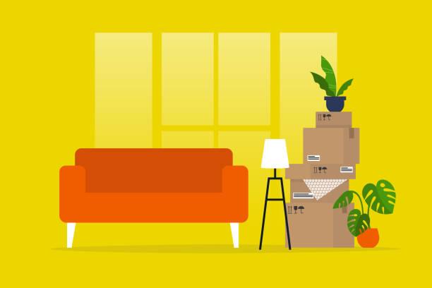 ilustrações, clipart, desenhos animados e ícones de mudando para um novo apartamento. deslocalização. hipoteca. não há pessoas. ilustração editable lisa do vetor, arte de grampo - casa nova