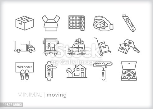 Set of 15 moving line icons of packing and moving to a new home