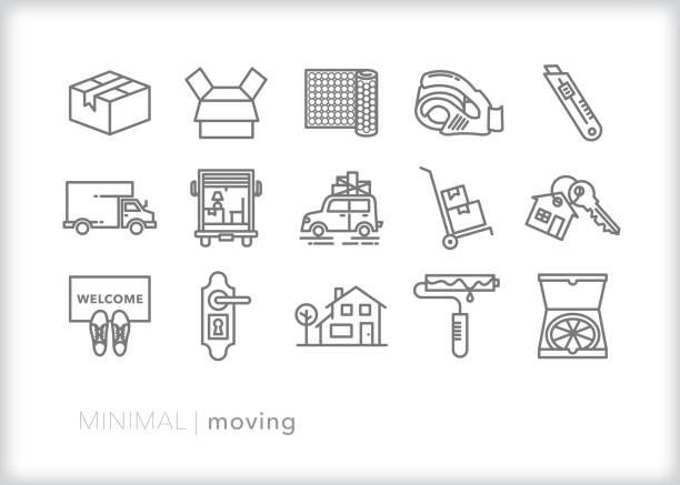 ilustrações, clipart, desenhos animados e ícones de movendo-se para um novo conjunto de ícones de linha inicial - casa nova