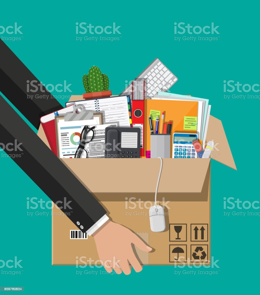 Moving to new office. Cardboard box in hand vector art illustration