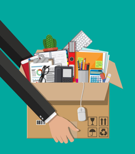 moving to new office. cardboard box in hand - przeprowadzka stock illustrations