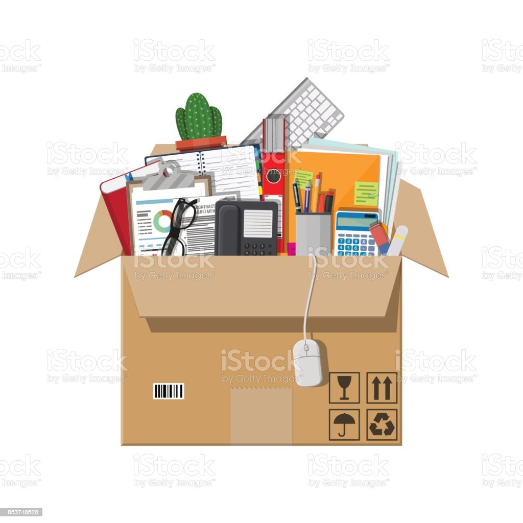 Moving to new office. Cardboard box vector art illustration