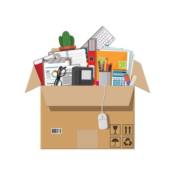 stockillustraties, clipart, cartoons en iconen met verhuizen naar nieuw kantoor. kartonnen doos - verhuizen