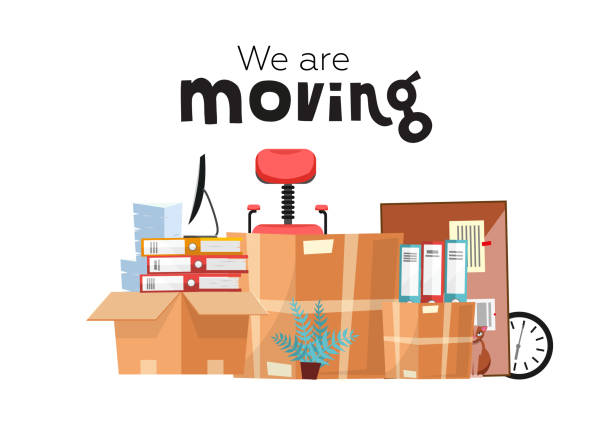 Moving to new office with boxes. Office accessories in cardboard box isolated on white background - monitor, folders, stack of papers, plant, office chair, clock, board stationery. Flat cartoon vector Moving to new office with boxes. Office accessories in cardboard box isolated on white background - monitor, folders, stack of papers, plant, office chair, clock, board stationery. Flat cartoon vector. physical activity stock illustrations