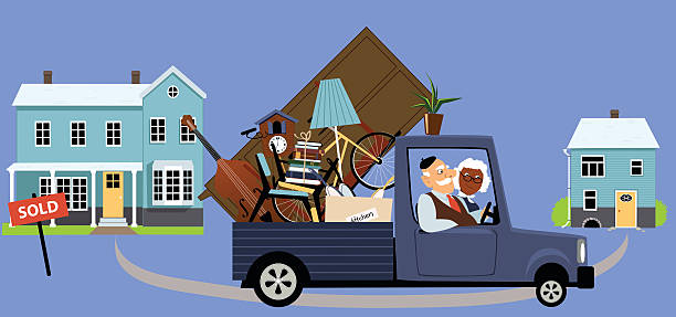 Moving to the smaller home vector art illustration