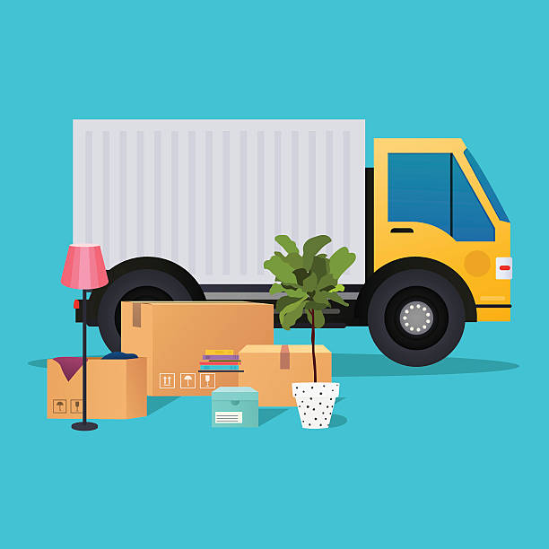 moving truck and cardboard boxes. moving house. transport compan - umzugskartons stock-grafiken, -clipart, -cartoons und -symbole