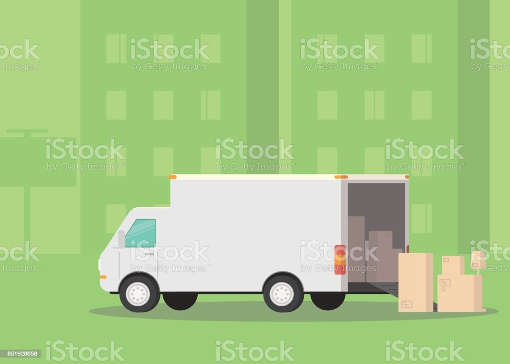 Moving truck and cardboard boxes on the street. Moving House. Transport company. Illustration vector art illustration